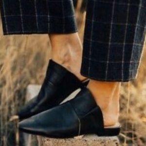 FREE PEOPLE Sienna black ruffle mule slide leather